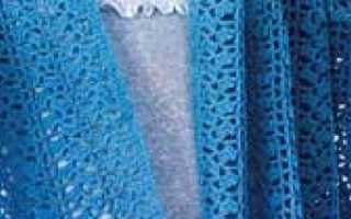 Ажурный шарфик с цветком, связанный крючком