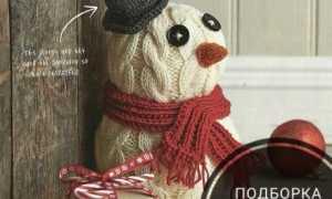 Вязаные серьги-снеговики