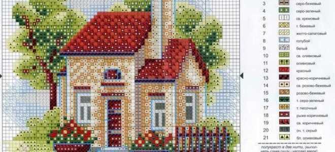 Вышивка: дом и сад крестом. Схема