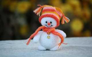 Новогодняя прихватка спицами «Снеговики». Схема и описание