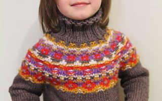Детский свитер спицами с круглой жаккардовой кокеткой «Калейдоскоп»