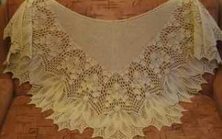 Ажурная шаль спицами «Кири». Схема и описание