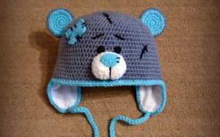 Детская шапка спицами с мишкой «Тедди». Мастер-класс